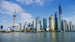 Shanghai timelapse,Lujiazui economic Center,busy shipping. Stock Footage
