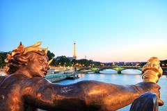 Eiffel tower from pont alexandre iii, paris Stock Photos