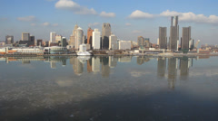 Detroit Skyline Afternoon 2 Stock Footage