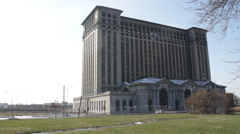 Michigan Central Station Detroit 1 Stock Footage
