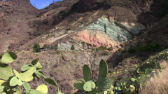 Spain - Gran Canaria - colorful mountains Stock Footage