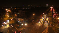 Cars in traffic, night rush hour, boulevards, traffic jam, crossroad, lights Stock Footage