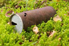old can, rusty beverage can in the forest - stock photo