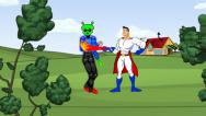 Stock Video Footage of Super Hero Cartoon Segment