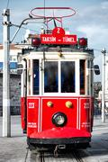 Red tram in istanbul Stock Photos