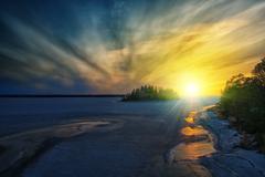 winter scene in the archipelago - stock photo