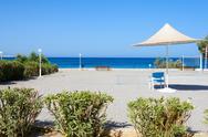 Stock Photo of beach umbrellas cyprus