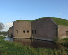 Fortress in Muiden (1874) + pan moat and earth rampart Stock Footage