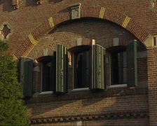 Fortress in Muiden (1874) D building close up windows + zoom out brick fortress Stock Footage