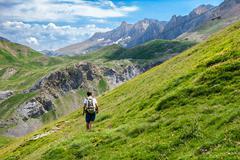 trekking in the spanish pyrenees - stock photo