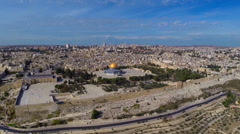 Stock Video Footage of East Jerusalem flight and dome of the rock-kotel