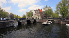 Tour boat in Amsterdam, Netherlands Stock Footage