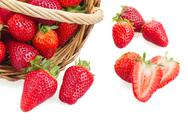 Stock Photo of fresh strawberries and basket