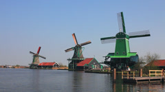 Zaanse Schans windmills - stock footage