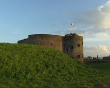 Muiden Fortress West Battery (1852) side view tower fort at the dike Stock Footage