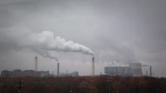 Air pollution industrial background Stock Footage
