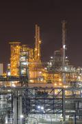Industrial plant in night time Stock Photos