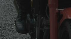 Closeup Kick Start Motorcycle - stock footage