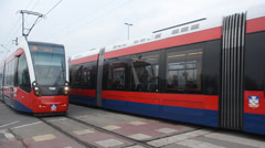 Trams and tram tracks Stock Footage