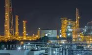 Stock Photo of refinery industrial factory in night time