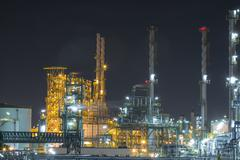 refinery industrial factory in night time - stock photo