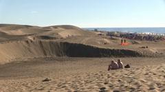 Spain - Gran Canaria - Maspalomas dunes Stock Footage