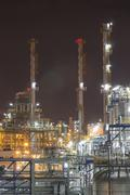 industrial plant in night time - stock photo