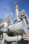 heat exchanger in industrial plant - stock photo