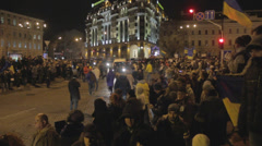 Revolution in Ukraine (after the fight with police) Stock Footage