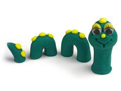 Emotion plasticine green worm, children worm no. 02 Stock Photos