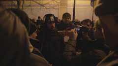 Revolution in Ukraine (after the fight with police) - stock footage