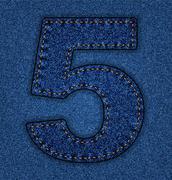 Jeans alphabet number 5 - stock illustration