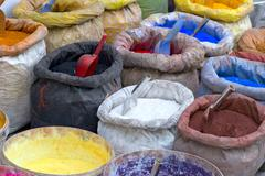 Sacks with paint pigment Stock Photos