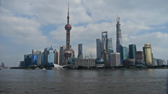 Panoramic of Shanghai Lujiazui business Center,urban building & busy shipping. Stock Footage