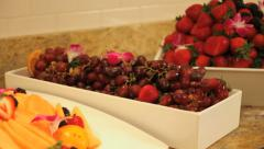 Breakfast buffet with various fruits Stock Footage