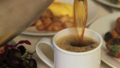 Breakfast coffee cup filled drink Stock Footage