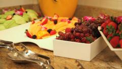 Various fruits on breakfast buffet Stock Footage