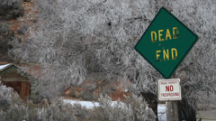 Dead end sign and frost. Stock Footage