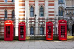 Red London Phone Booths Stock Photos
