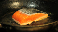 Stock Video Footage of salmon fillet frying in pan