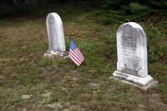 old tombstones from 19th century - stock photo