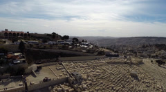 East Jerusalem flight over mount of olives cemetary Stock Footage