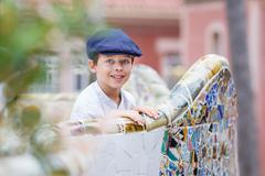 Cute little boy at Parc Guell, Barcelona - stock photo