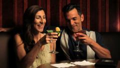 Romantic couple having alcoholic drinks Stock Footage