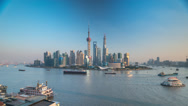 Stock Video Footage of Timelapse of Boats Passing by Pudong, Shanghai, China