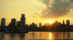Stock Video Footage of Shanghai bund sunset from pudong zone,ship sail huangpu river.