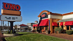 UNO's restaurant entrance sign Stock Footage