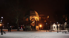 German Fountain in a snowy night Stock Footage