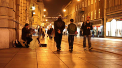 Making music at Main Street Ilica night time in Zagreb Stock Footage