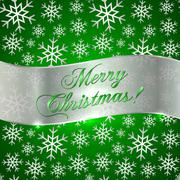 Green Background with Snowflakes and Silver Greeting Ribbon Stock Illustration